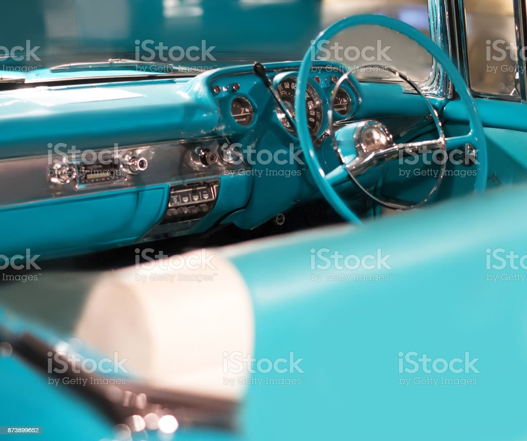 Interior of luxury vintage car close up stock photo