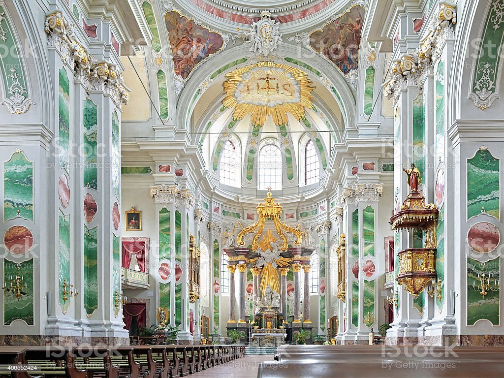 Interior of Mannheim Jesuit Church, Germany stock photo