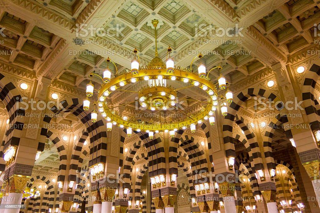 Interior of Masjid (mosque) Nabawi in Al Madinah. royalty-free stock photo