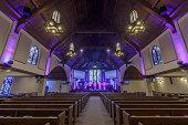 Interior of Menlo Park Presbyterian Church in Menlo Park, San Mateo County, California, USA.