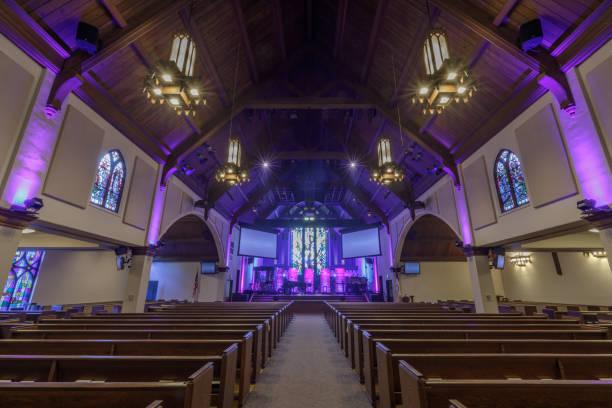 Interior of Menlo Park Presbyterian Church in Menlo Park, San Mateo County, California, USA. stock photo