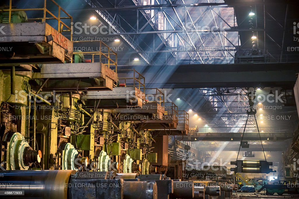 Interior of metallurgical plant worksh, steel mill, Russia stock photo