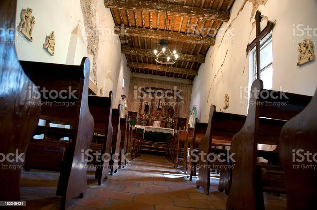 Interior of Mission in San Antonio, Texas (USA) royalty-free stock photo