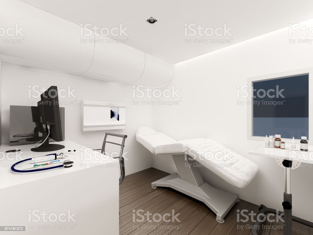 Interior of Mobile Clinic car , 3d rendering stock photo