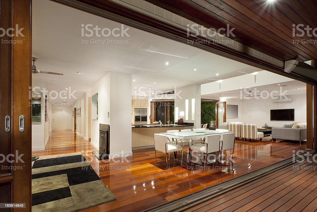 Interior of modern and brightly lit luxurious home royalty-free stock photo