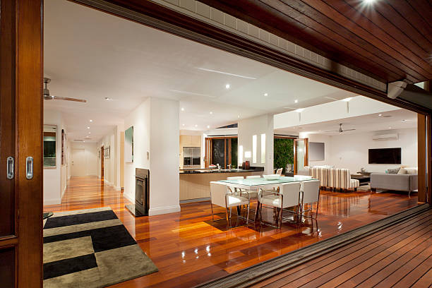 Interior of modern and brightly lit luxurious home stock photo