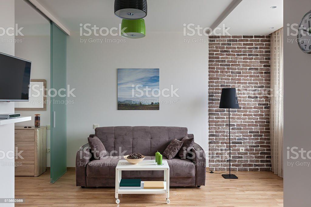 Interior of modern apartment in scandinavian style stock photo
