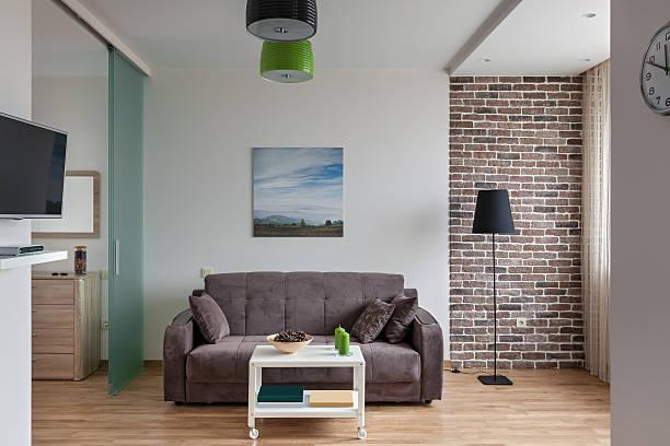 Interior of modern apartment in scandinavian style stock photo