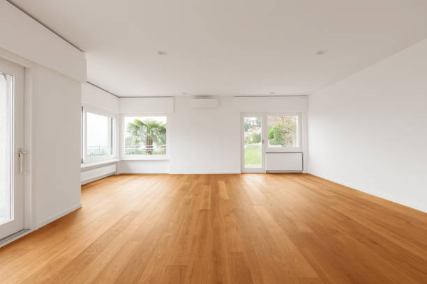 interior of modern apartment, livingroom - space background стоковые фото и изображения