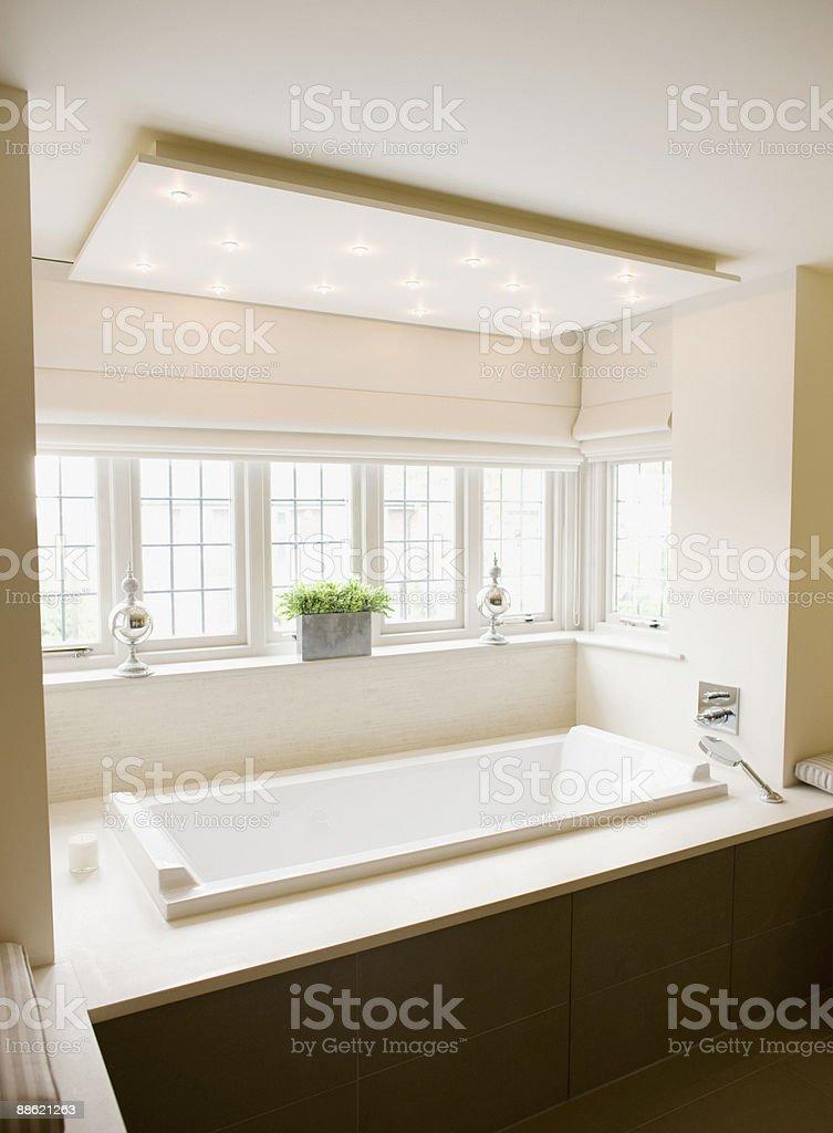 Interior of modern bathroom and soaking tub royalty-free stock photo