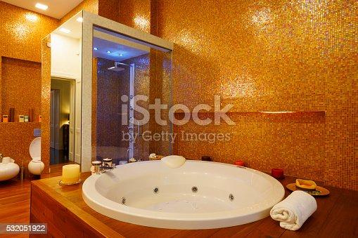 Interior Of Modern Bathroom Hydro Massage Bath And Shower stock ...