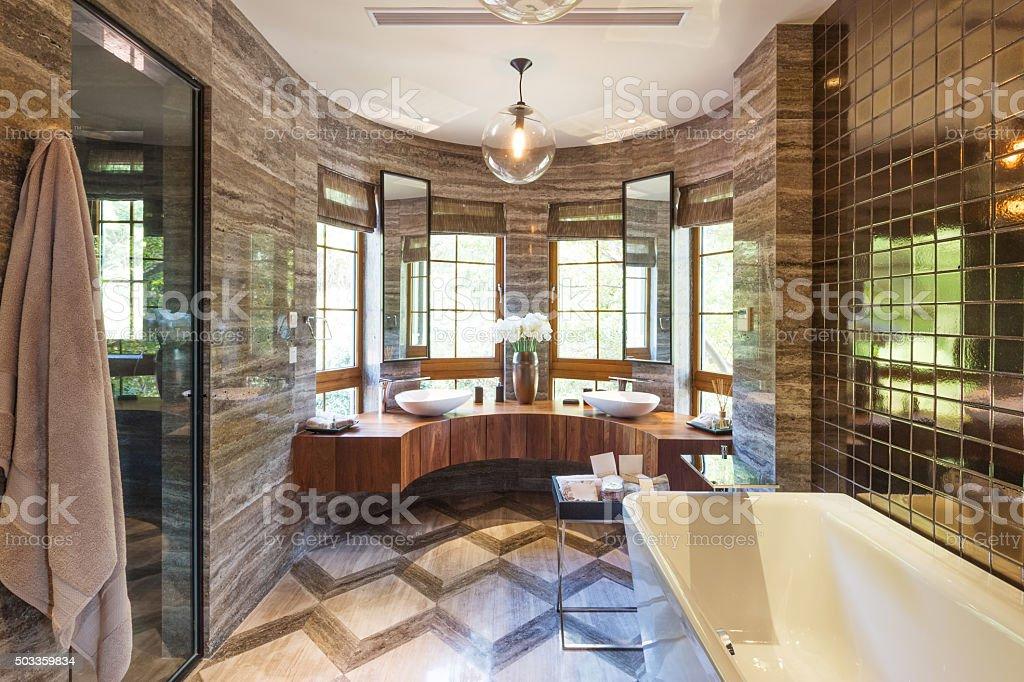 interior of modern bathroom stock photo