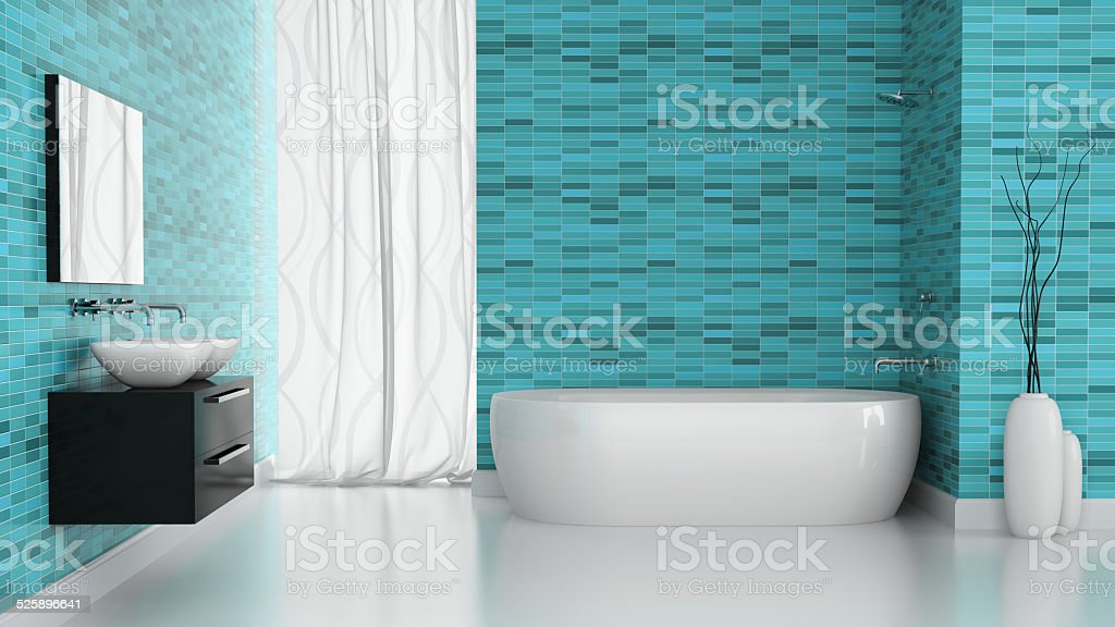 Wnętrze Nowoczesne łazienki Z Niebieski Płytki ścienne 3d Rendering