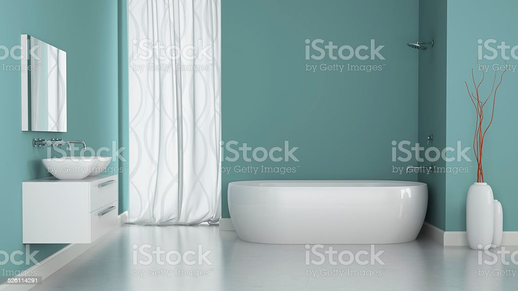 Interior of modern bathroom with blue walls stock photo