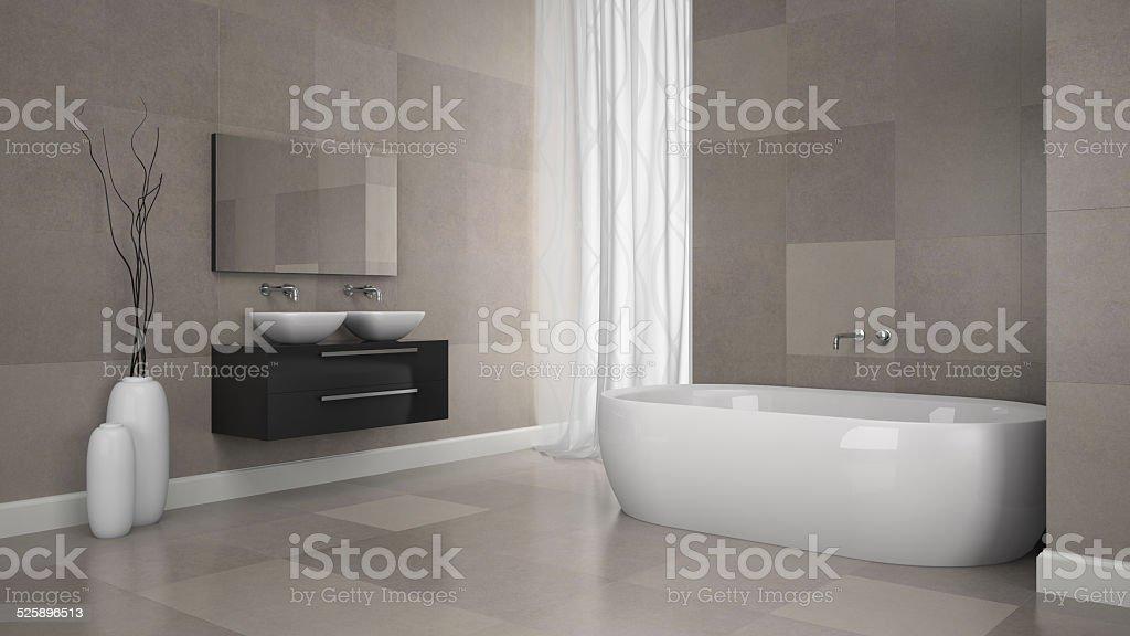 Interieur Des Modernen Badezimmer Mit Granit Und Fliesen ...