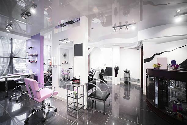 moderno interior de un salón de belleza - salón de belleza fotografías e imágenes de stock
