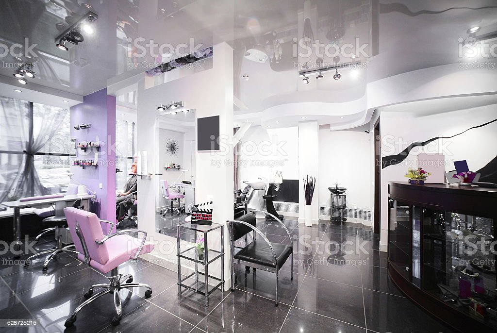 Concept Coloring Hair Stock Photo Interior Of Modern Beauty Salon Stock  Photo ...