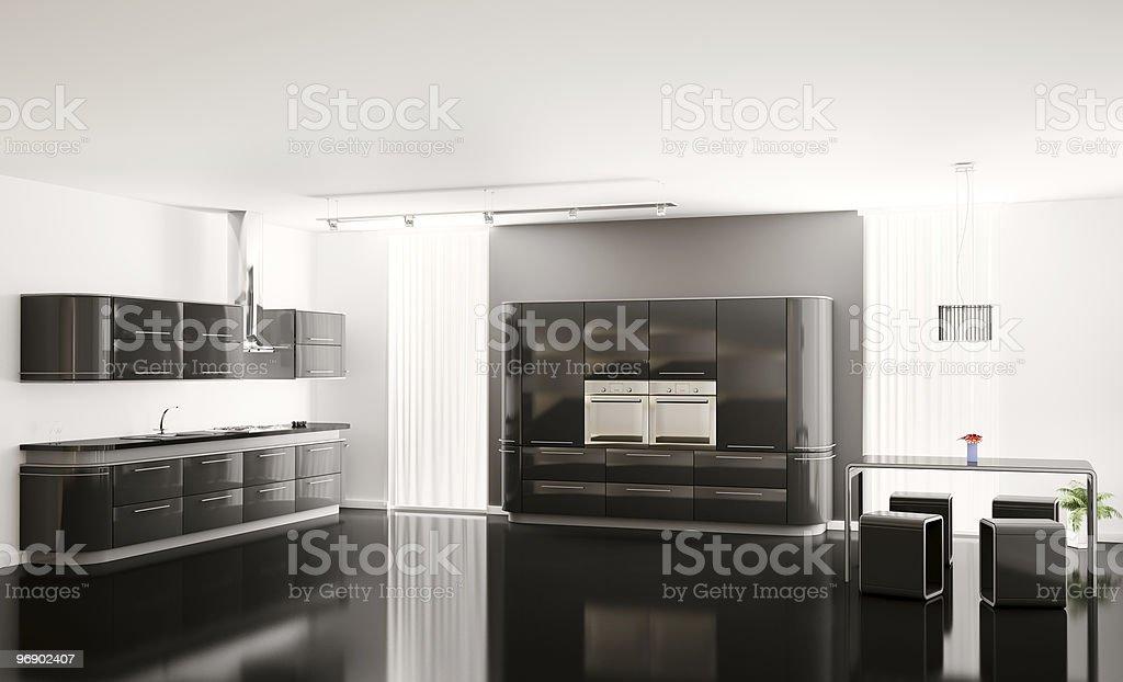 Interior of modern black kitchen 3d royalty-free stock photo