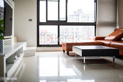 640265128 istock photo Interior of modern, bright living room 1179613235