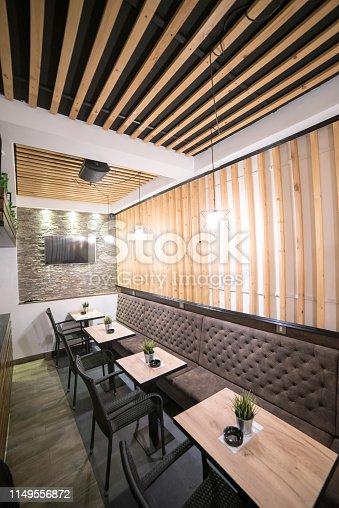 Interior of nice, small, modern cafe.