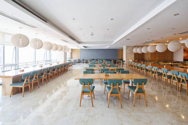 interior of modern cafeteria stock photo