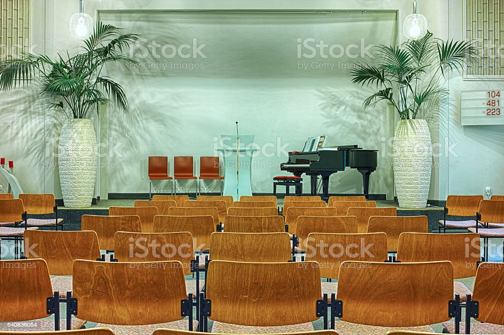 Interior of modern church royalty-free stock photo