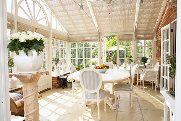 интерьер современный conservatory - оранжерея стоковые фото и изображения