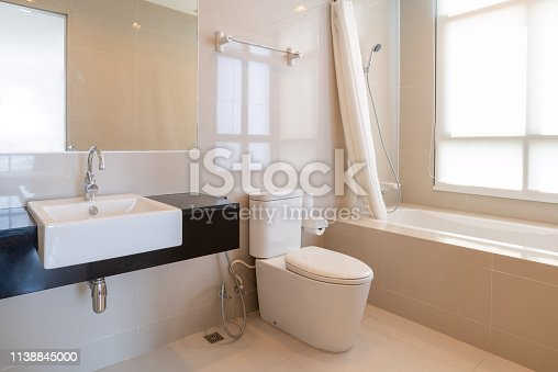 618327092istockphoto Interior of modern design home bathroom with shower and toilet 1138845000