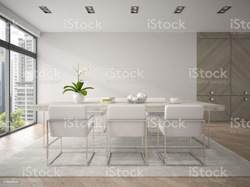 Interni Di Progettazione Moderno Loft Con Un Grande Tavolo 3d Fotografie Stock E Altre Immagini Di Ambientazione Interna Istock