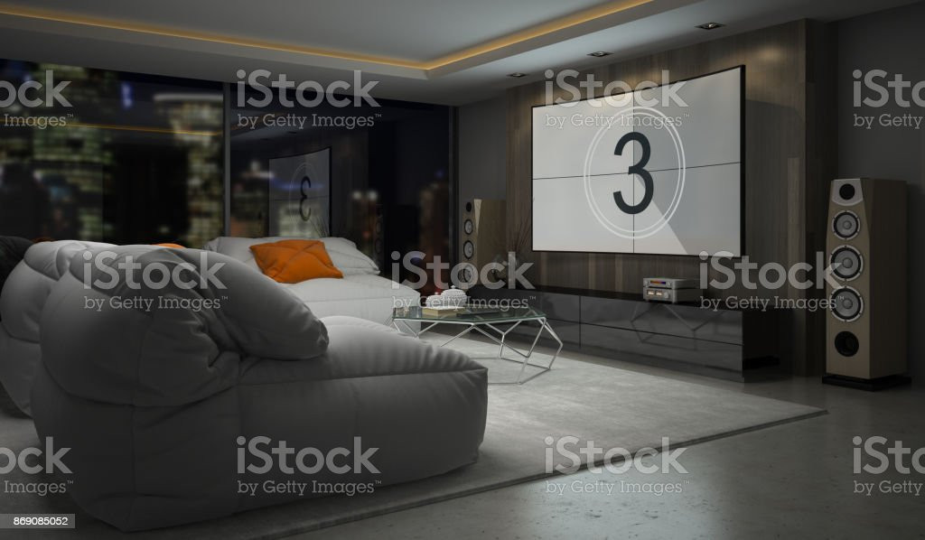 Interior of modern design room 3D rendering stock photo