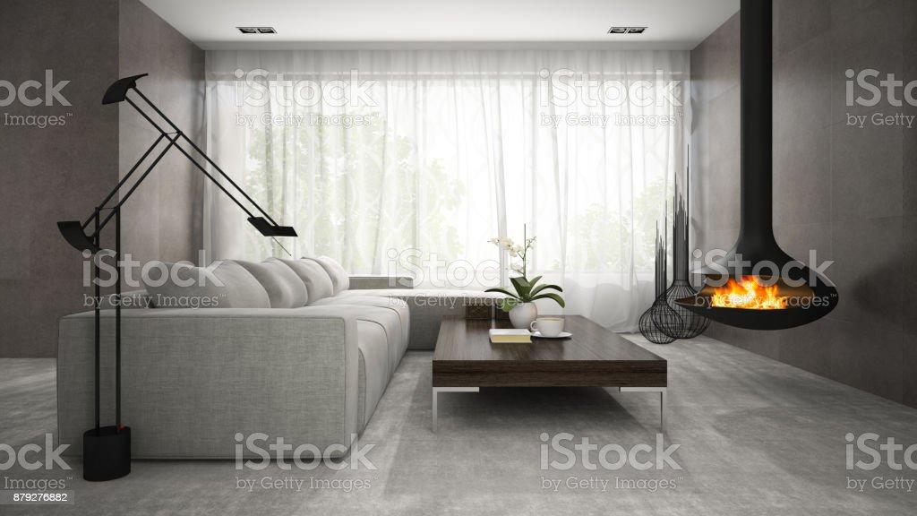Bon Design Intérieur Moderne Du0027une Chambre Avec Cheminée U2013 Représentation En 3D  Photo Libre De