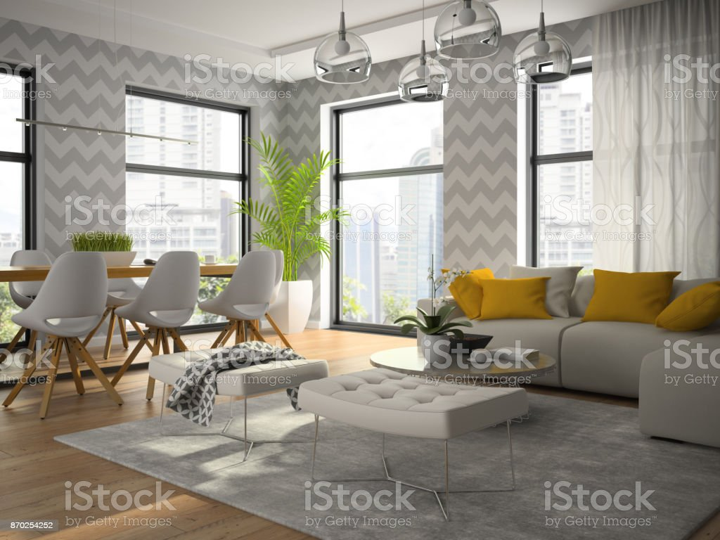 Interior of modern design room with grey wallpaper 3d rendering stock image