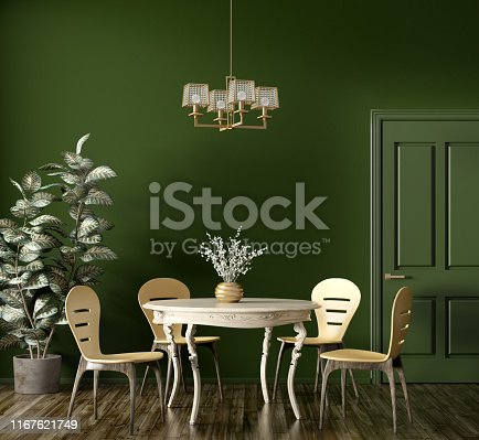 Interior of modern dining room, wooden classic table and yellow chairs against dark green wall with door 3d rendering
