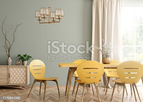 Interior of modern dining room, yellow table and chairs against green wall with big window and curtain 3d rendering