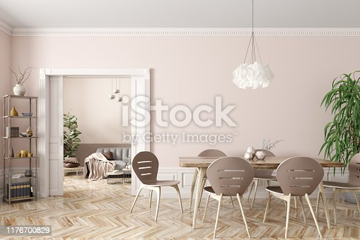 Interior of modern dining room and living room, beige table and chairs against wall with door 3d rendering