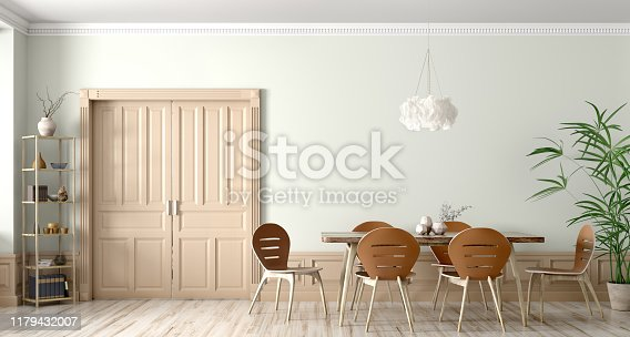 660325278istockphoto Interior of modern dining room 3d rendering 1179432007