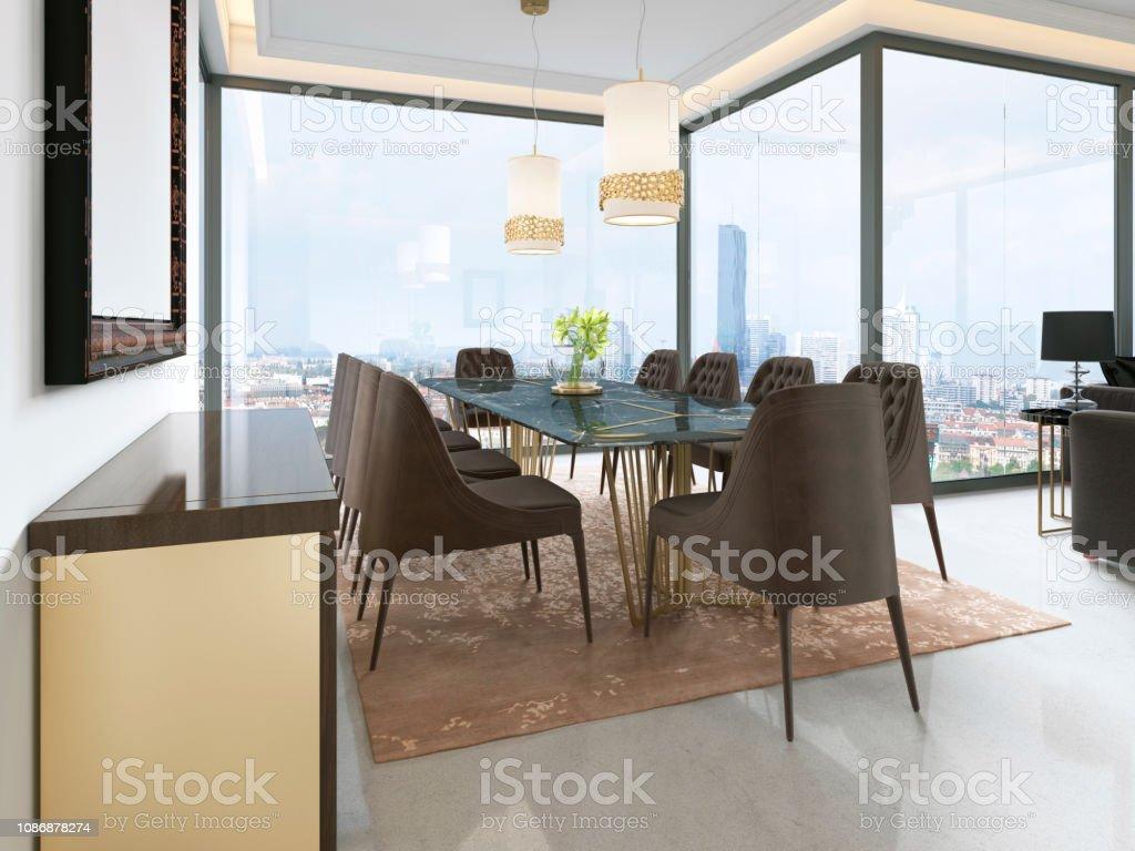 Interior De Salón Comedor Moderno Foto de stock y más banco ...