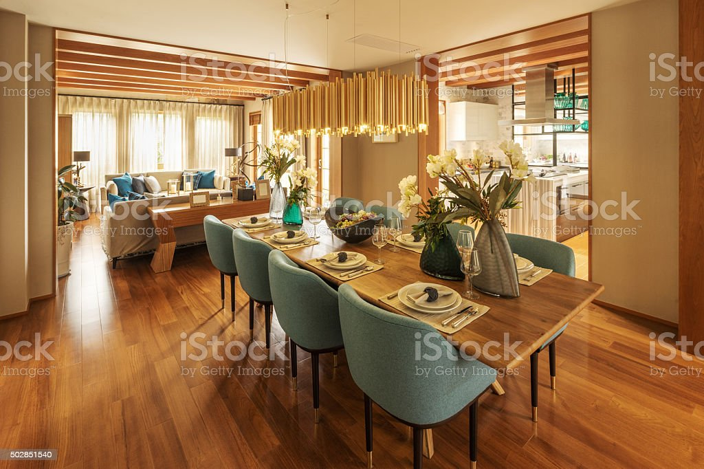 interior of modern dining room stock photo