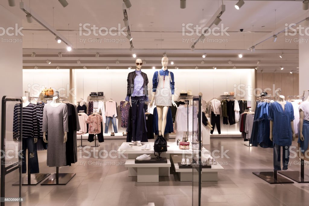interior of modern fashion shop stock photo