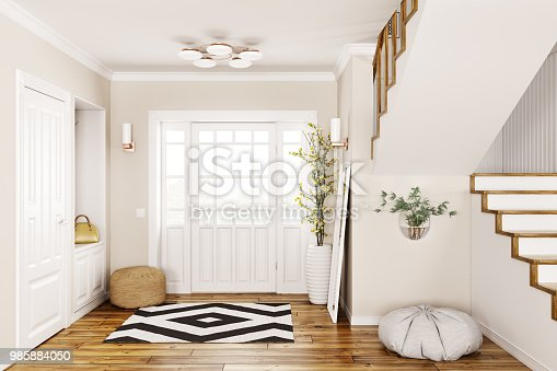 istock Interior of modern hall 3d rendering 985884050