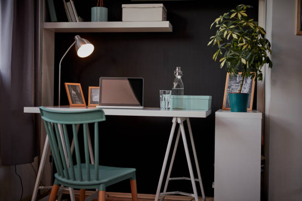 Interior of modern home office. stock photo
