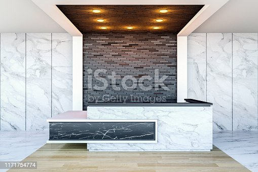 908258590 istock photo Interior of modern hotel lobby area and reception desk, 3D Rendering 1171754774