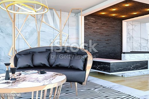 908258590 istock photo Interior of modern hotel lobby area and reception desk, 3D Rendering 1171754793