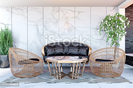 908258590 istock photo Interior of modern hotel lobby area and reception desk, 3D Rendering 1171754803