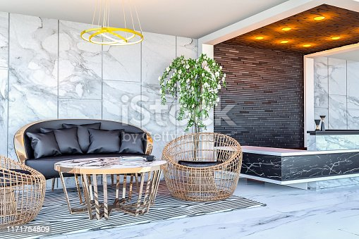908258590 istock photo Interior of modern hotel lobby area and reception desk, 3D Rendering 1171754809