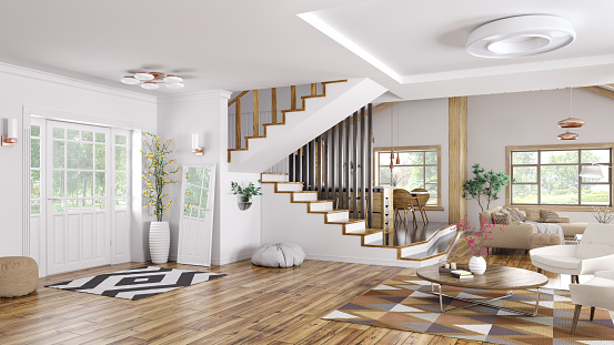 Interior Of Modern House 3d Rendering Stock Photo ...