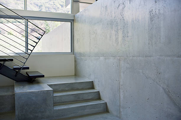 Interior of modern house, metal staircase stock photo