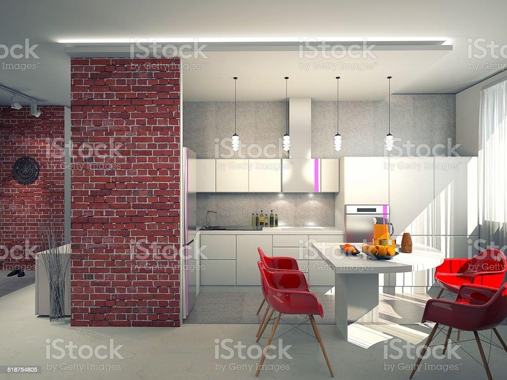 Interieur des modernen Küche 3D – Foto