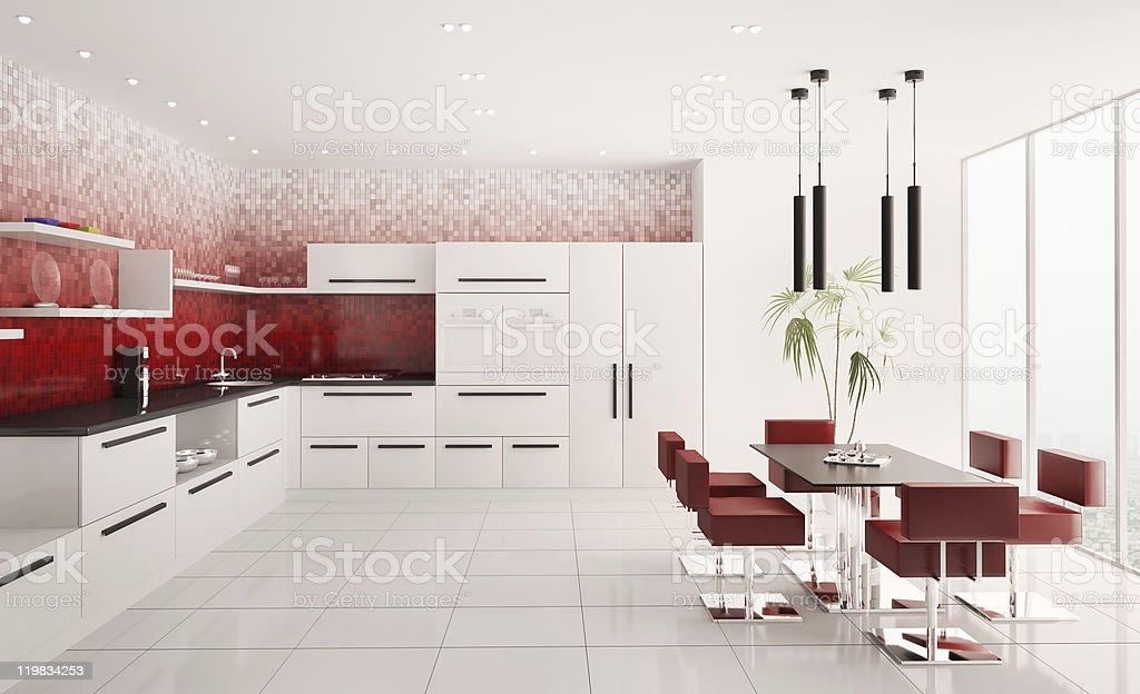 Interior of modern kitchen 3d render royalty-free stock photo