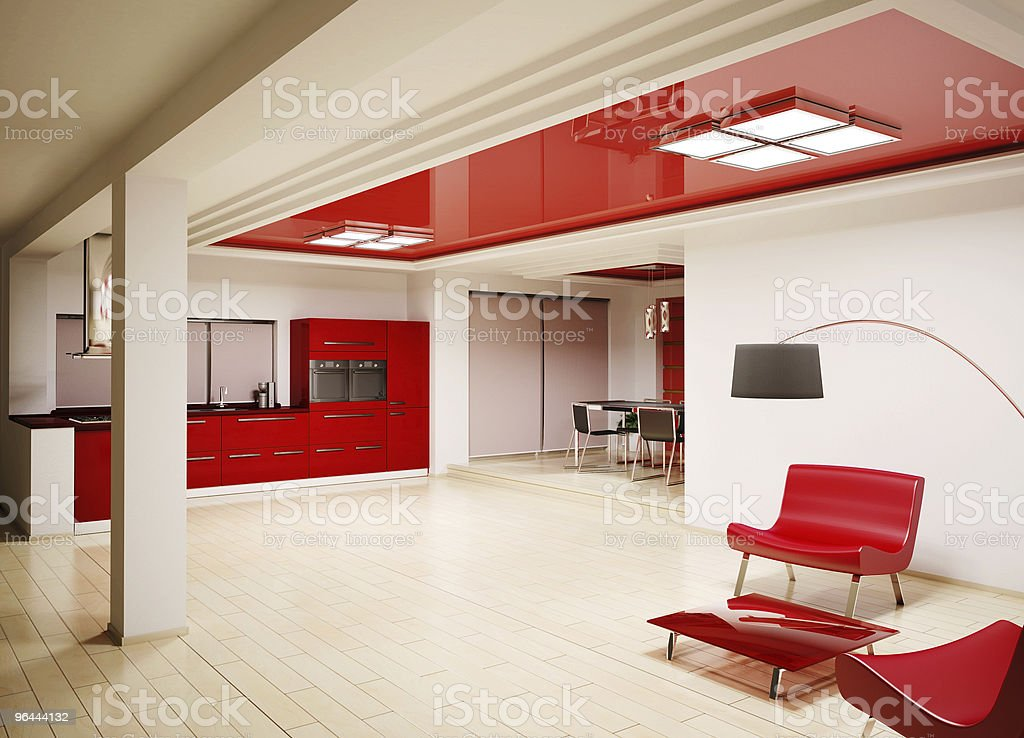Interior of modern kitchen 3d render royalty-free stock photo